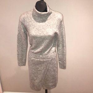 ASOS grey turtle neck dress with asymmetric skirt